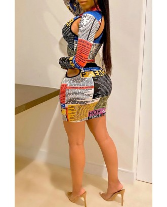 Lovely Casual Hollow-out Printed Multicolor Two-piece Skirt Set