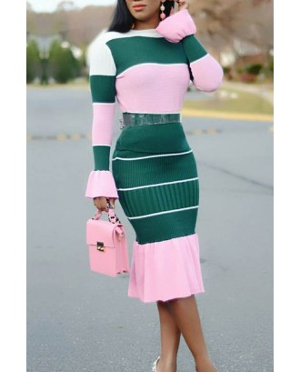 Lovely Casual Patchwork Green Two-piece Skirt Set
