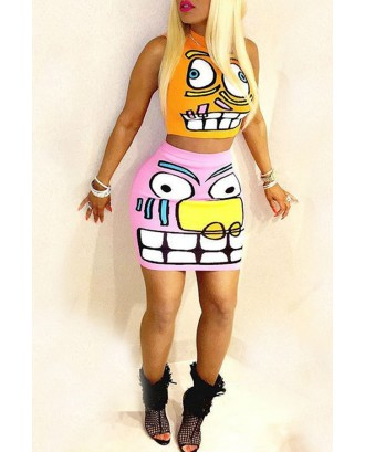 Lovely Casual O Neck Cartoon Printed Multicolor Two-piece Skirt Set
