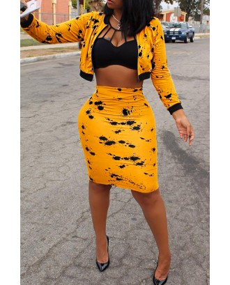 Lovely Casual Long Sleeves Printed Yellow Blending Two-piece Skirt Set