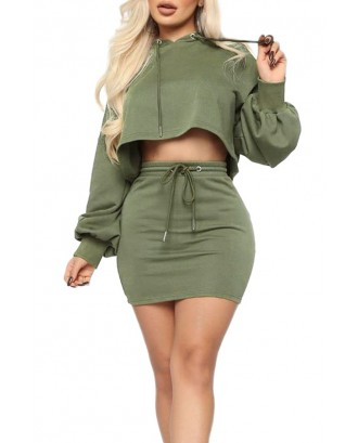 Lovely Casual Hooded Collar Crop Top Green Two-piece Skirt Set