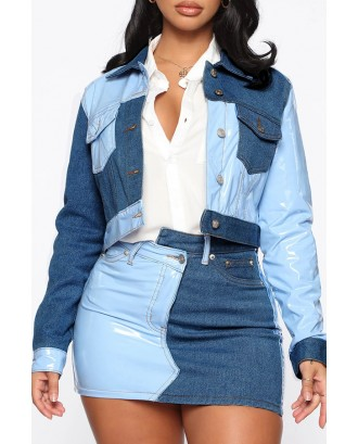 Lovely Casual Patchwork Blue Two-piece Skirt Set