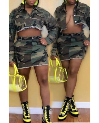 Lovely Casual Camouflage Printed Two-piece Skirt Set