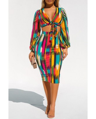 Lovely Casual Crop Top Printed Multicolor Two-piece Skirt Set