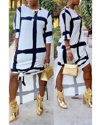 Lovely Casual O Neck Print White Ankle Length Dress