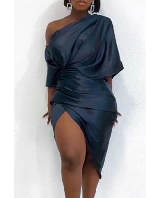 Lovely Casual Asymmetrical One Shoulder Black Knee Length Dress