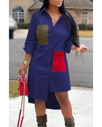 Lovely Casual Color-lump Patchwork Blue Mid Calf Dress