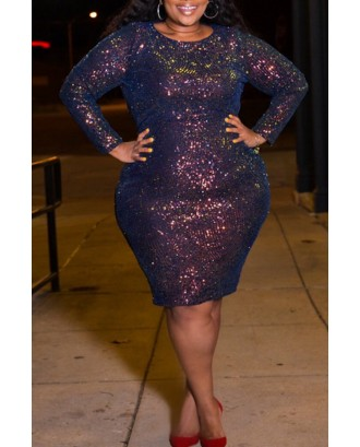 Lovely Casual O Neck Basic Multicolor Knee Length Plus Size Dress