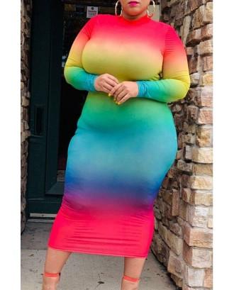 Lovely Casual Half A Turtleneck Multicolor Mid Calf Plus Size Dress