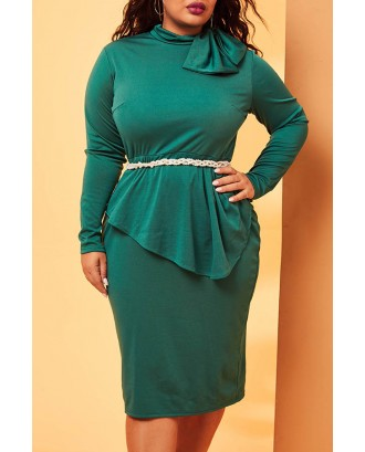 Lovely Casual Flounce Deep Green Mid Calf Plus Size Dress(Without Belt)