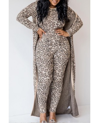 Lovely Casual Leopard Printed Two-piece Pants Set