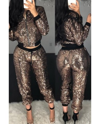 Lovely Casual Patchwork Coffee Two-piece Pants Set