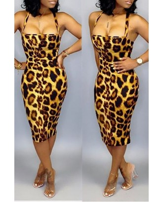 Lovely Casual Leopard Printed Knee Length Dress