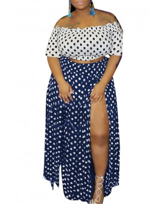 Lovely Casual Dot Printed Side Split Blue Plus Size Two-piece Skirt Set