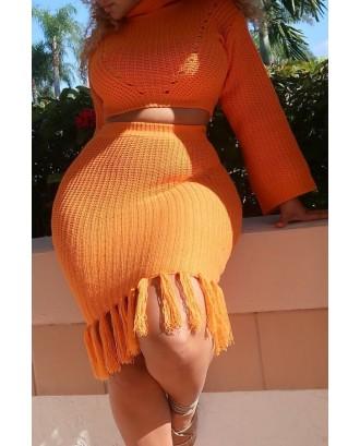 Lovely Casual Flounce Design Orange Two-piece Skirt Set