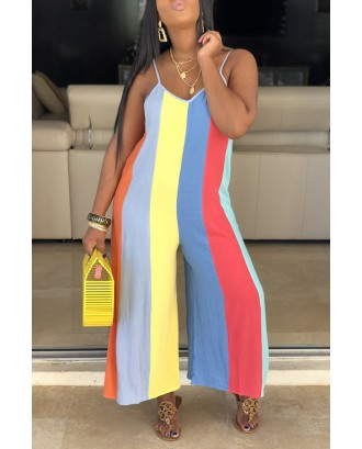 Lovely Casual V Neck Spaghetti Straps Striped Multicolor One-piece Jumpsuit