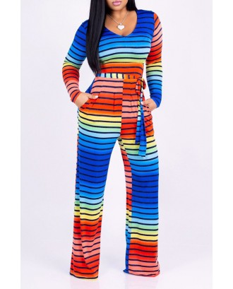 Lovely Casual Striped Multicolor One-piece Jumpsuit