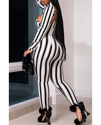 Lovely Casual Striped Hollow-out Black One-piece Jumpsuit