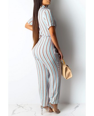 Lovely Casual Deep V Neck Striped Multicolor One-piece Jumpsuit