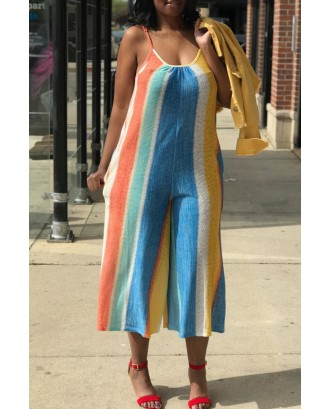 Lovely Casual Striped Patchwork Multicolor Loose One-piece Jumpsuit
