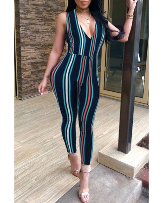 Lovely Casual Striped Dark Blue  Blending One-piece Jumpsuit