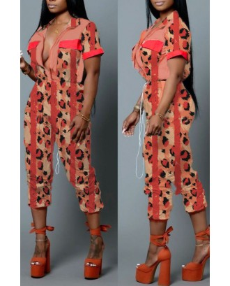Lovely Casual Leopard Printed Multicolor One-piece Jumpsuit