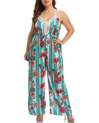 Lovely Casual V Neck Patchwork Printed Green One-Piece Jumpsuit