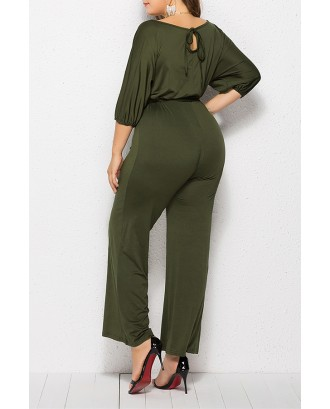 Lovely Casual Hubble-bubble Sleeves Army Green Plus Size One-piece Jumpsuit