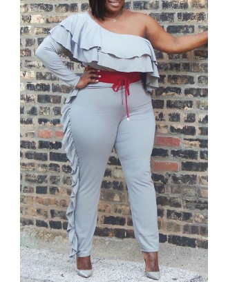 Lovely Casual One Shoulder Flounce Grey Plus Size One-piece Jumpsuit