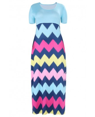 Lovely Casual Geometric Printed Blue Floor Length Plus Size Dress