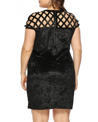 Lovely Casual Hollow-out Black Mini Plus Size Dress