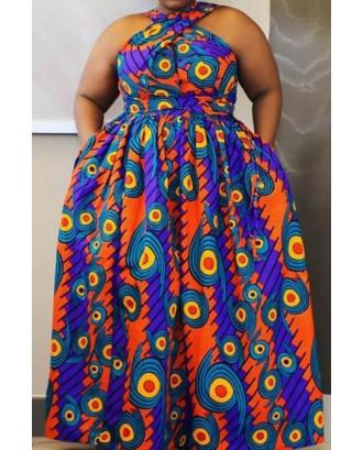Lovely Bohemian Printed Blue Floor Length Plus Size Dress