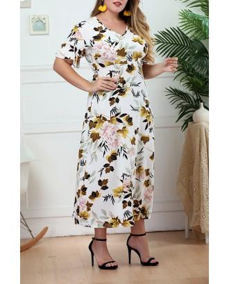 Lovely Bohemian V Neck Printed White Mid Calf A Line Plus Size Dress