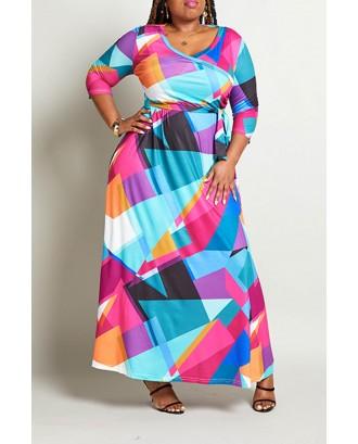 Lovely Casual Color-lump Patchwork Multicolor Floor Length Plus Size Dress