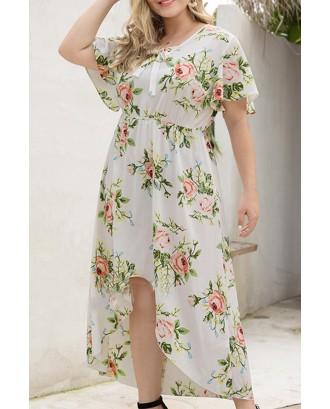 Lovely Bohemian O Neck Printed Asymmetrical White Knee Length A Line Plus Size Dress