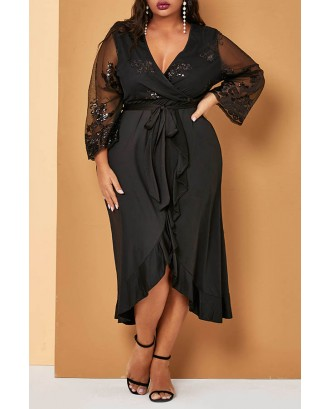 Lovely Casual Embroidery Design Black Mid Calf Plus Size Dress