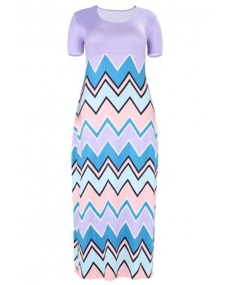 Lovely Casual Geometric Printed Purple Floor Length Plus Size Dress