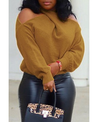 Lovely Casual Cross-over Design Coffee Sweater