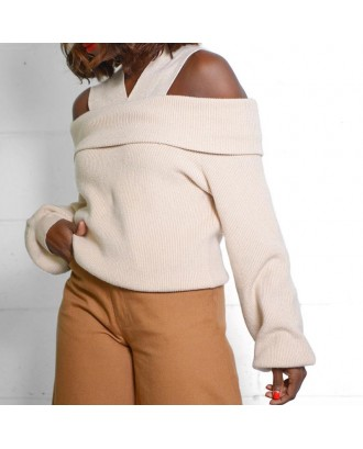 Lovely Casual Dew Shoulder Creamy White Sweater