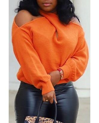 Lovely Casual Cross-over Design Orange Sweater