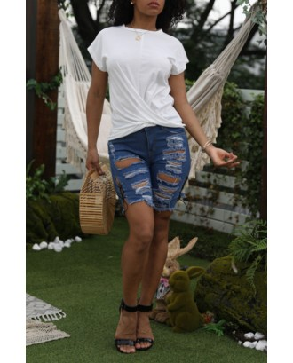 Lovely Casual O Neck White Blouse