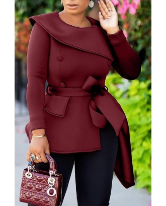 Lovely Casual Asymmetrical Wine Red Blouse