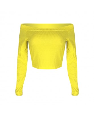 Lovely Casual Dew Shoulder Yellow T-shirt