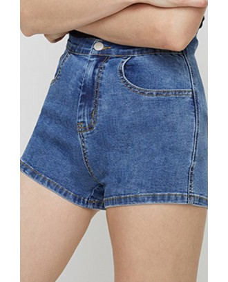 Lovely Casual Bandage Design Blue Denim Shorts