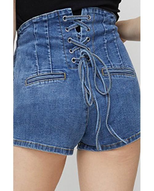 Lovely Casual Bandage Design Blue Denim Shorts