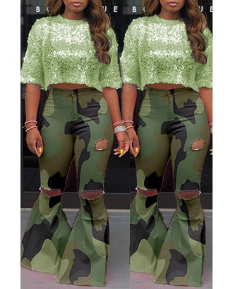 Lovely Casual Camouflage Printed Army Green Pants
