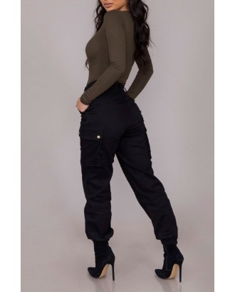 Lovely Casual Basic Black Cargo Pants