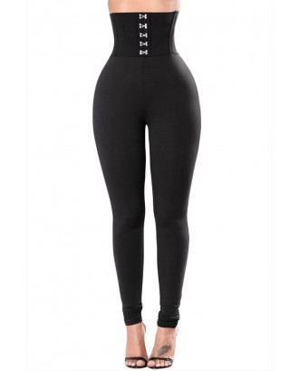 Lovely Leisure Buttons Black Leggings
