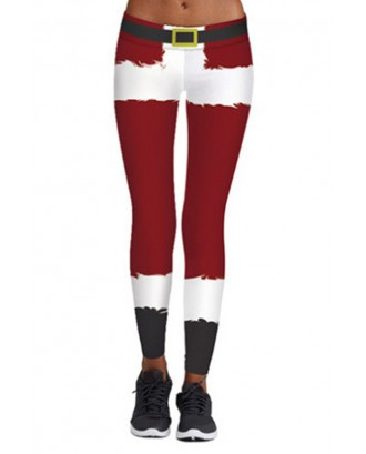 Lovely Christmas Day Printed Red Leggings
