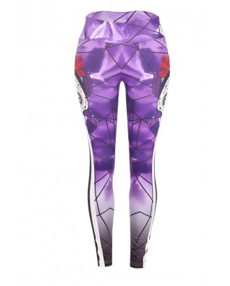 Lovely Halloween Skull Printed Purple Leggings